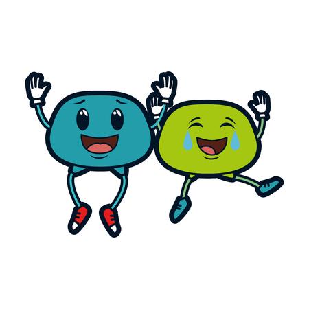 Illustration pour couple face emoji characters vector illustration design - image libre de droit