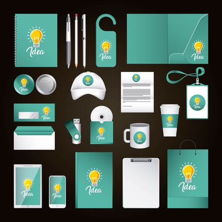 Illustration pour Corporate identity template design with idea. Green color elements business stationery illustration. - image libre de droit