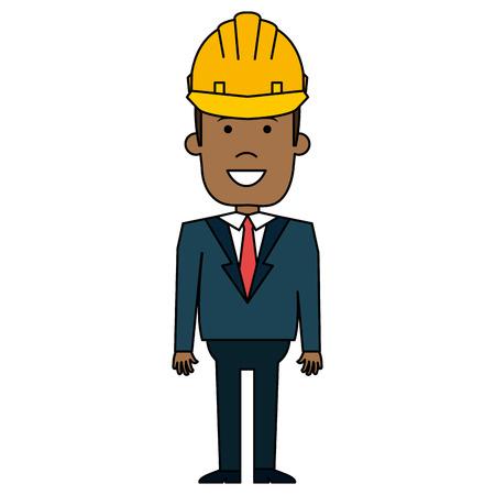 Illustration pour Black man with helmet construction vector illustration design - image libre de droit