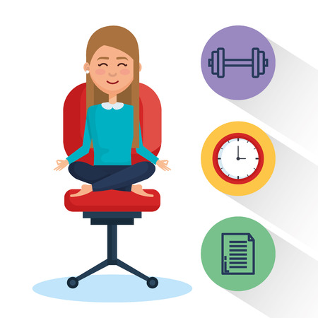 Ilustración de Business people meditation lifestyle with business elements illustration design - Imagen libre de derechos