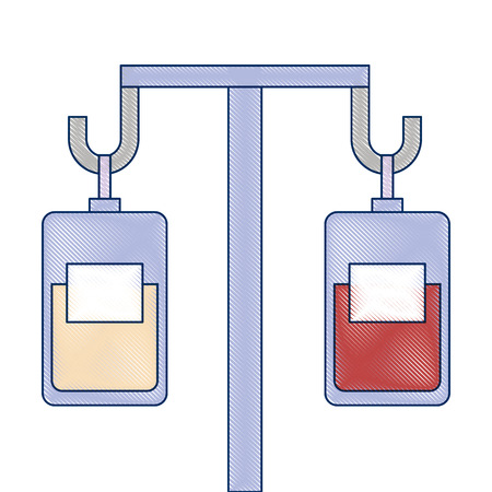 Illustration for medicine and blood bags hanging vector illustration design - Royalty Free Image