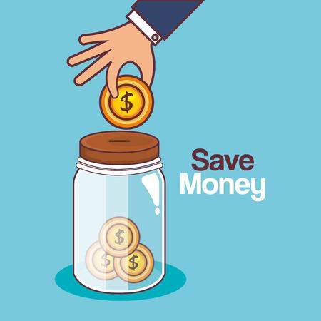 Illustration pour Save money jar icon vector illustration design. - image libre de droit