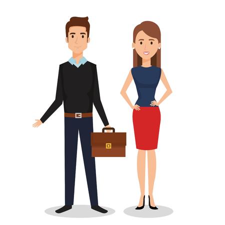 Illustration pour Business people couple avatars characters vector illustration design. - image libre de droit