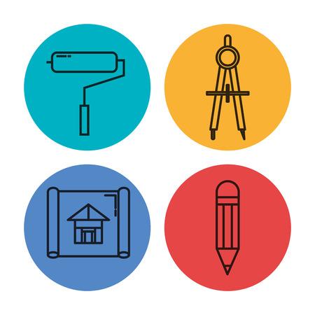 Illustrazione per Architectural design set icons vector illustration design. - Immagini Royalty Free