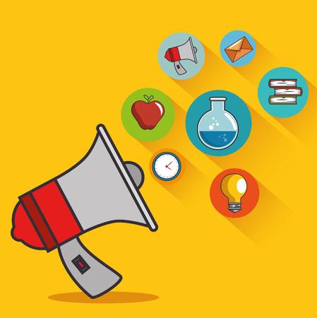 Illustration pour education icon coming out of megaphone vector illustration graphic design - image libre de droit