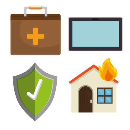 Illustrazione per house insurance services elements vector illustration graphic design - Immagini Royalty Free