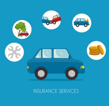 Illustration pour Car insurance service concept vector illustration graphic design - image libre de droit