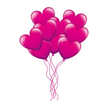 Illustration pour Balloons air with heart shape vector illustration design - image libre de droit