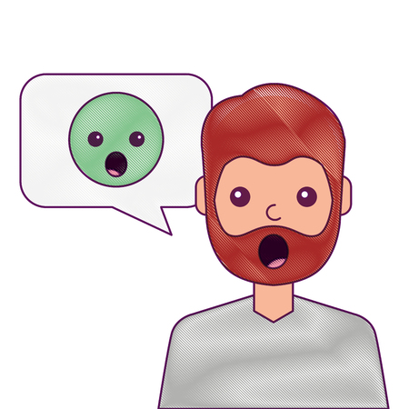 man with surprised emoticon in speech bubble vector illustration
