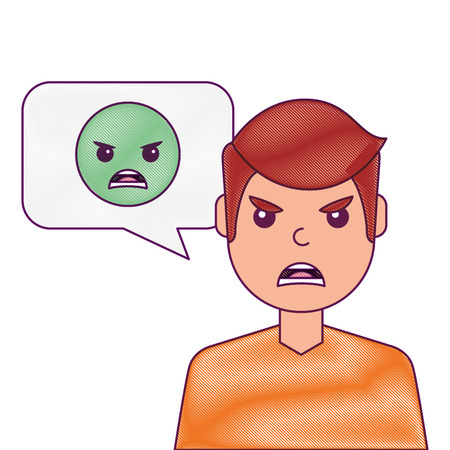 man with angry emoticon in speech bubble vector illustration