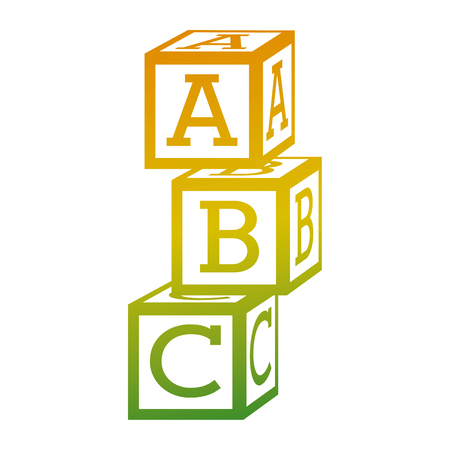 Illustration for tower of alphabet block toy education icon vector illustration - Royalty Free Image