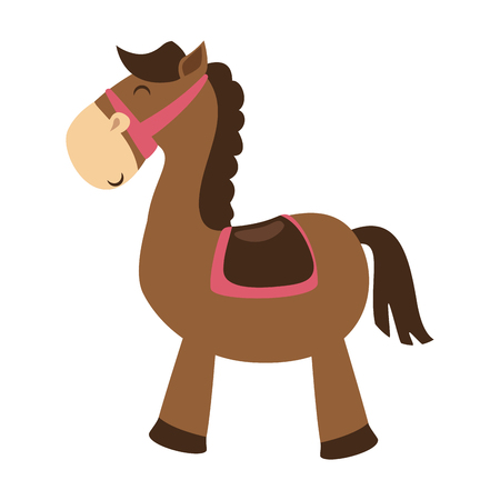 Illustration pour cute horse toy isolated icon vector illustration design - image libre de droit