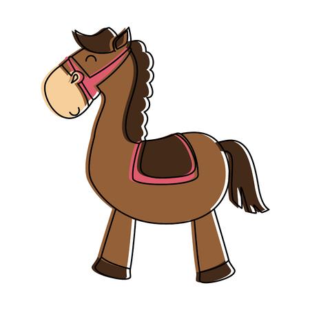 Illustration pour Cute horse toy isolated icon. Vector illustration design. - image libre de droit