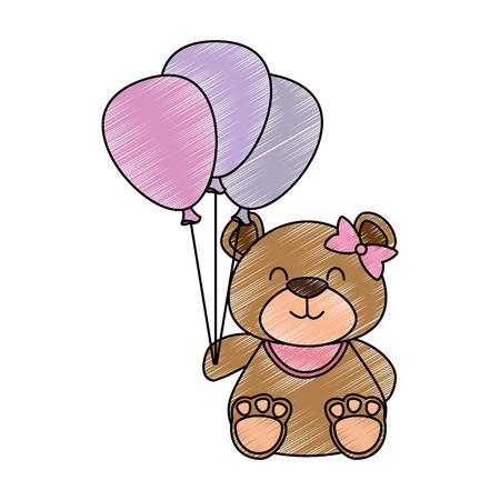 Illustration pour Cute bear teddy with balloons air vector illustration design - image libre de droit
