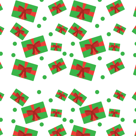 Ilustración de Christmas gift packages bow ribbon dotted decoration seamless pattern. - Imagen libre de derechos