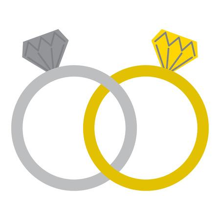 Illustration pour wedding rings jewelry diamonds unity vector illustration - image libre de droit