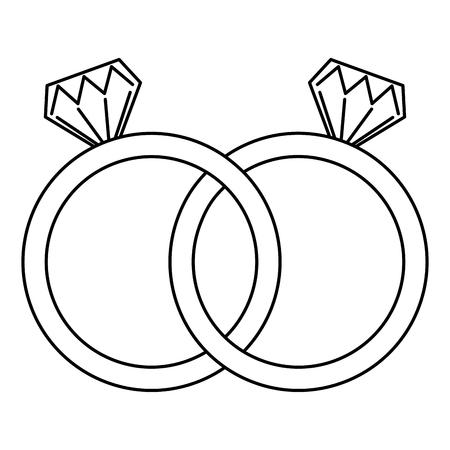 Illustration pour wedding rings jewelry diamonds unity vector illustration outline - image libre de droit