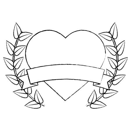 Illustration pour heart cartoon emblem with laurel wreath valentines day icon image vector illustration design. - image libre de droit
