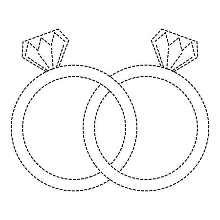 Illustration pour wedding rings jewelry diamonds unity vector illustration sticker design - image libre de droit