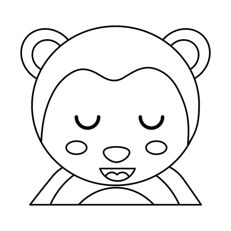 Illustration for cute portrait monkey animal baby with close eyes vector illustration outline design - Royalty Free Image