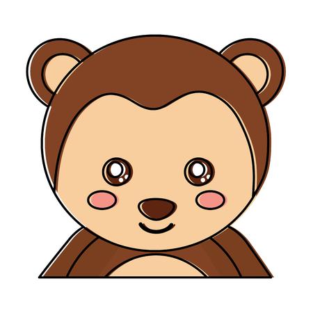 Illustration for Cute portrait monkey, animal baby, vector illustration - Royalty Free Image