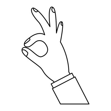 Illustration pour human hand showing ok fingers symbol vector illustration outline design - image libre de droit
