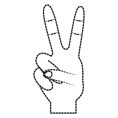 Illustration pour Hand with two fingers victory peace and love sign vector illustration sticker design - image libre de droit