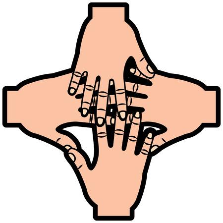 Ilustración de four human hands teamwork unity vector illustration sticker design - Imagen libre de derechos