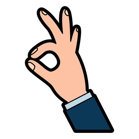 Illustration pour human hand showing ok fingers symbol vector illustration  design - image libre de droit