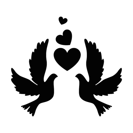 Photo pour Birds with heart icon - image libre de droit