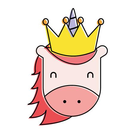Ilustración de unicorn with crown horned animal fantasy magic vector illustration - Imagen libre de derechos