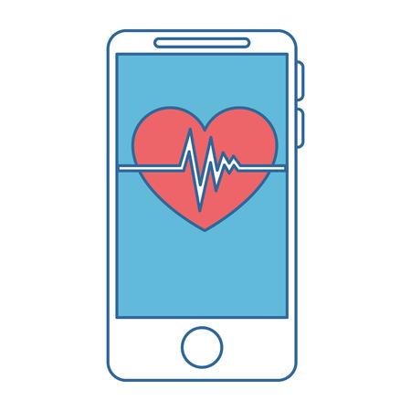 Illustration pour smartphone device with heart cardio vector illustration design - image libre de droit
