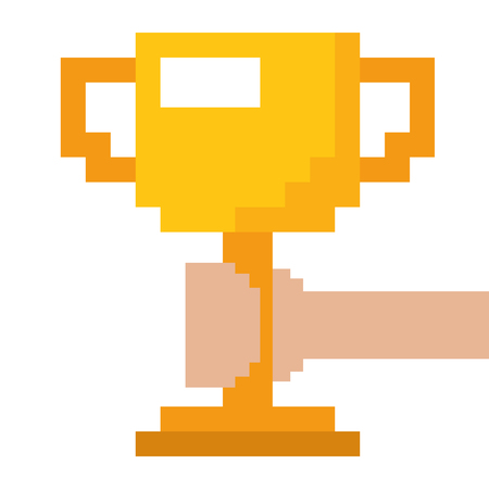 Illustration pour Pixelated hand holding trophy cup game vector illustration. - image libre de droit