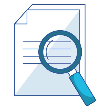 Illustration pour paper document with magnifying glass vector illustration design - image libre de droit