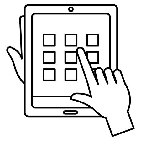 Illustration pour Hands user with tablet and security pattern vector illustration design - image libre de droit