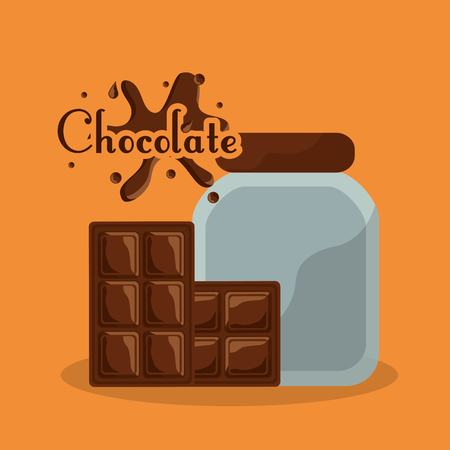 Ilustración de chocolate bottle and bar splash card vector illustration - Imagen libre de derechos