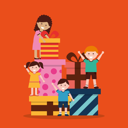 Illustration for Group of kids with nicely wrapped gift boxes vector illustration - Royalty Free Image