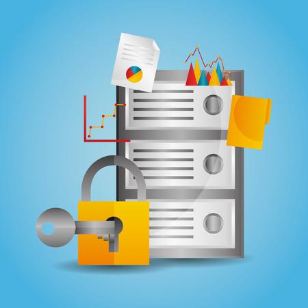 Illustration pour Data center server protection padlock key vector illustration - image libre de droit