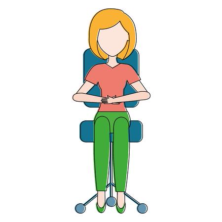 Illustration pour businesswoman in office chair vector illustration design - image libre de droit