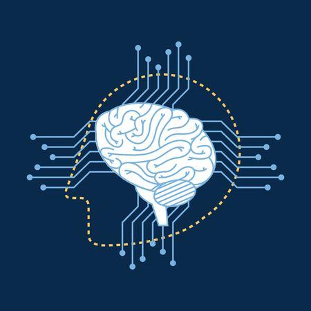 Illustration pour Silhouette robot head brain circuit connection vector illustration - image libre de droit
