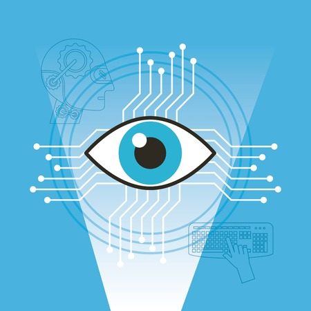 Illustration pour Surveillance vision technology artificial intelligence vector illustration - image libre de droit