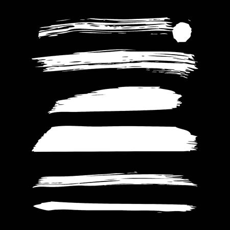 Ilustración de Set of artistic white paint hand made creative ink brush strokes. Isolated on black background vector illustration. - Imagen libre de derechos