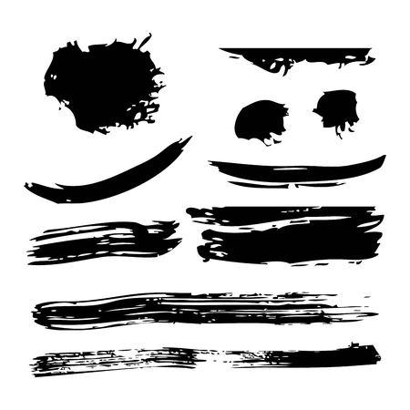 Ilustración de Ink brush stroke different grunge art texture. Dirty creative element paintbrush vector illustration. - Imagen libre de derechos