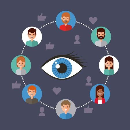 Ilustración de eye view viral content people connection vector illustration - Imagen libre de derechos