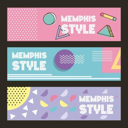 Photo pour memphis style pattern banner horizontal geometric color pastel image vector illustration - image libre de droit