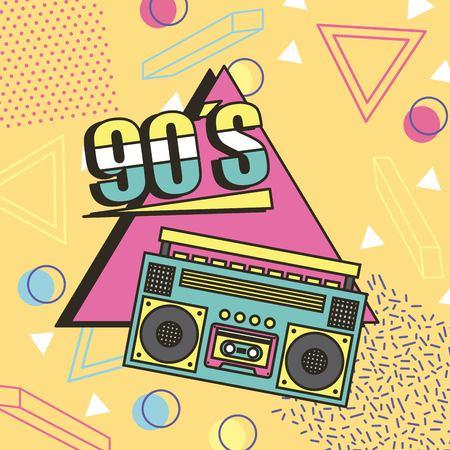 Illustration pour tape recorder 90s music memphis style background vector illustration - image libre de droit