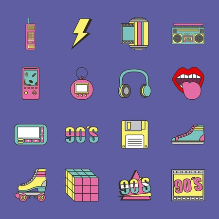 Illustrazione per fashion 90s patches retro elements collection vector illustration - Immagini Royalty Free