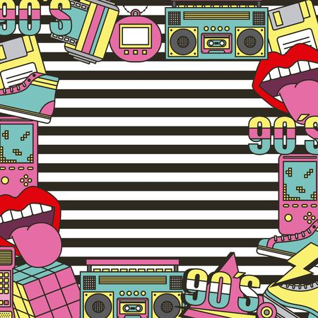 Illustration for the 90s patches fashion poster frame decoration stripes background vector illustration - Royalty Free Image