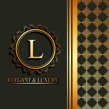 Illustration pour Elegant and luxury font, letter L in  round frame decoration with geometric design on the side vector illustration. - image libre de droit