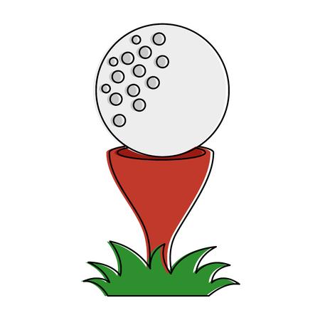 Illustrazione per Golf ball accessory with pin vector illustration design - Immagini Royalty Free